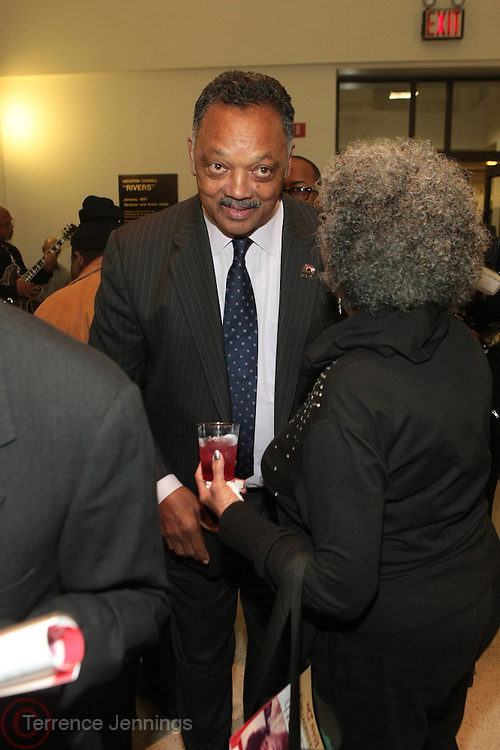 """November 14, 2012- Harlem, New York City: Civil Rights Activist Rev. Jesse L. Jackson at Actress Ruby Dee's 90th Birthday Celebration and special excerpt screening of new Documentary """" Life's Essentials with Ruby Dee """" by Muta' Ali, grandson of Actress/Civil Rights Activist Ruby Dee and Actor Ossie Davis held at The Schomburg Center on November 14, 2012 in Harlem, New York City. The Film follows Muta' Ali quests for (Ruby Dee & Ossie Davis) their secrets to love, art, and activism. (Terrence Jennings) ."""