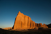 Temple of the Sun at day's last light. Cathedral Valley Loop, Capitol Reef National Park, Utah