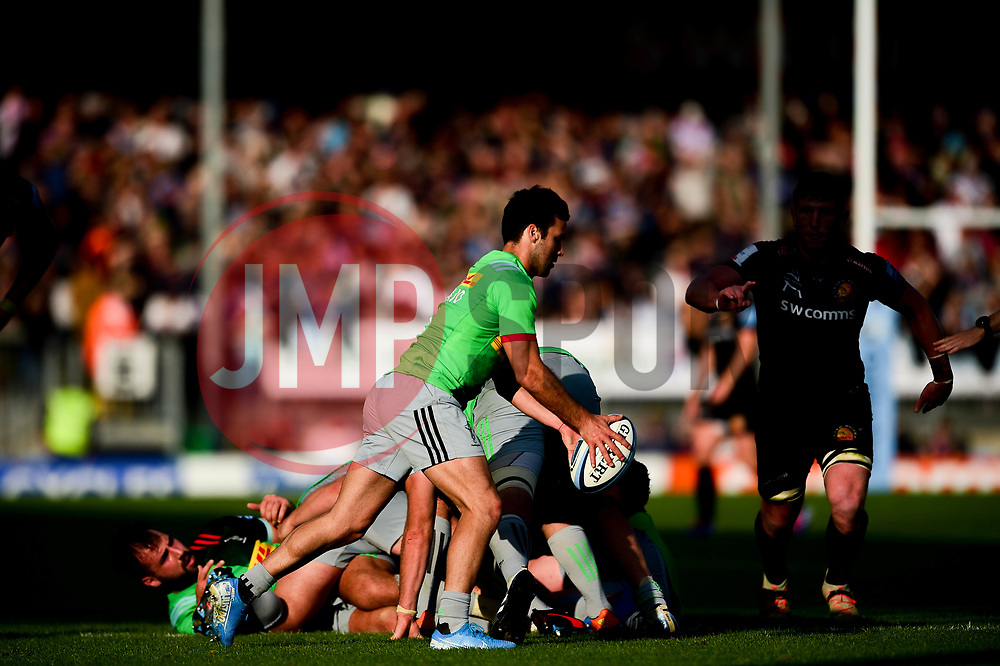 Martin Landajo of Harlequins clears the ball from the ruck - Mandatory by-line: Ryan Hiscott/JMP - 19/10/2019 - RUGBY - Sandy Park - Exeter, England - Exeter Chiefs v Harlequins - Gallagher Premiership Rugby