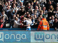 Rolando Aarons (16) of Newcastle United celebrates scoring to make it 4-1 with the fans during the Barclays Premier League match at St. James's Park, Newcastle<br /> Picture by Simon Moore/Focus Images Ltd 07807 671782<br /> 15/05/2016