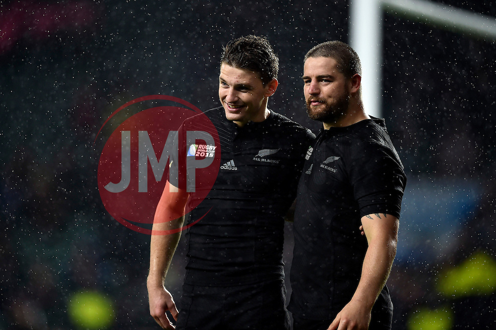 Beauden Barrett of New Zealand with team-mate Dane Coles after the match - Mandatory byline: Patrick Khachfe/JMP - 07966 386802 - 24/10/2015 - RUGBY UNION - Twickenham Stadium - London, England - South Africa v New Zealand - Rugby World Cup 2015 Semi Final.