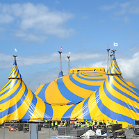 Cirque du Solei crew begins to take down the Grand Chapiteau (big top) on Monday, March 26, 2012.