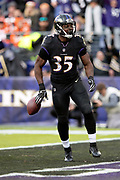 Baltimore Ravens rookie running back Gus Edwards (35) celebrates after running for a third quarter touchdown that ties the score at 21-21 during the NFL week 11 regular season football game against the Cincinnati Bengals on Sunday, Nov. 18, 2018 in Baltimore. The Ravens won the game 24-21. (©Paul Anthony Spinelli)