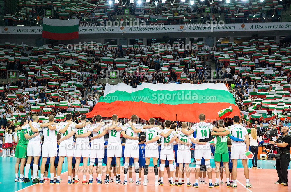 Players of Bulgaria listening to the national anthem during volleyball match between National teams of France and Bulgaria in 2nd Semifinal of 2015 CEV Volleyball European Championship - Men, on October 17, 2015 in Arena Armeec, Sofia, Bulgaria. Photo by Vid Ponikvar / Sportida
