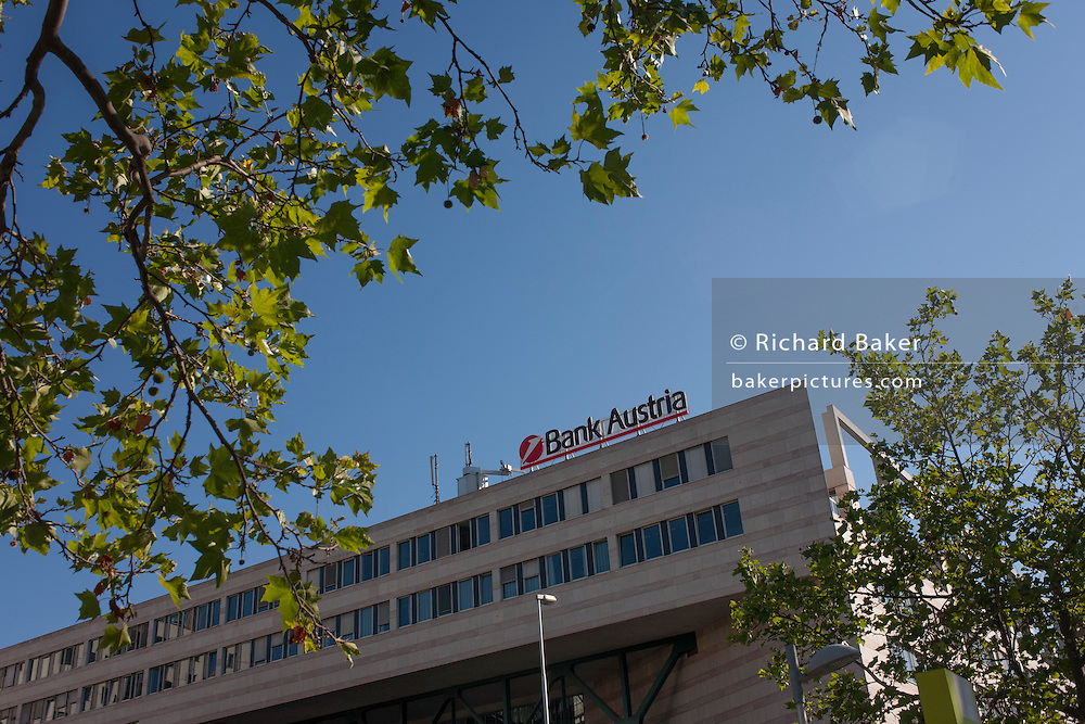 Exterior of the Bank Austria in Austria Campus, Leopoldstadt, Vienna, Austria, EU.