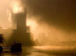 Pittsburgh in the morning fog.