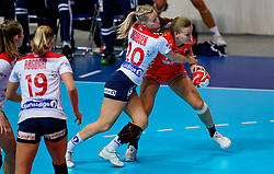 06-12-2019 JAP: Norway - Netherlands, Kumamoto<br /> Last match groep A at 24th IHF Women's Handball World Championship. / The Dutch handball players won in an exciting game of fear gegner Norway and wrote in the last group match at the World Handball  World Championship history (30-28). / Debbie Bont #7 of Netherlands, Marit Rosberg Jacobsen #20 of Norway