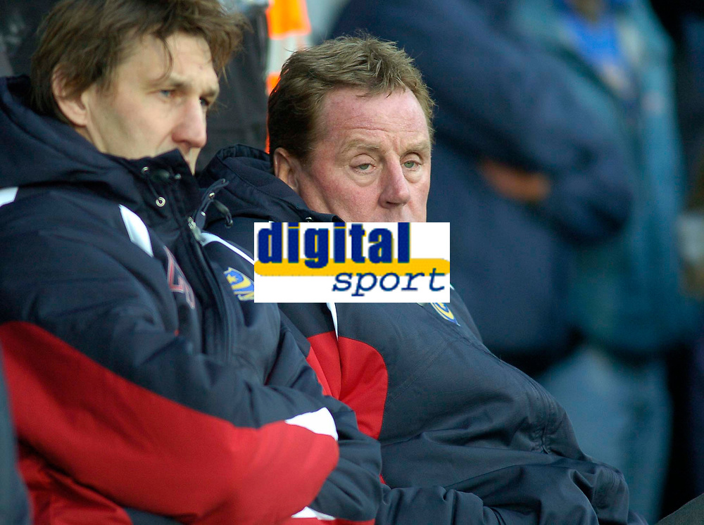 Photo: Gareth Davies.<br /> Portsmouth v Everton. The Barclays Premiership. 09/12/2006.<br /> Portsmouth's Tony Adams (L) and Harry Redknapp (R) watch from the sidelines.