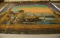 Circa 1886 Moulton Opera House curtain will be cleaned and restored with a public display scheduled for this October at the Laconia Public Library.   (Karen Bobotas/for the Laconia Daily Sun)
