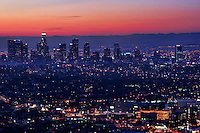 Skyline from Griffith Park Observatory at Sunrise. Los Angeles, California.