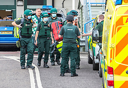© Licensed to London News Pictures. 19/07/2020. Brighton, UK. Paramedic units outside the Sussex Royal Hospital in Brighton And Hove after one male member of staff was stabbed by a member of the public. Photo credit: Hugo Michiels/LNP