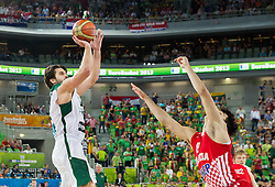 Linas Kleiza #11 of Lithuania vs Dario Saric #8 of Croatia during basketball match between National teams of Lithuania and Croatia in Semifinals at Day 17 of Eurobasket 2013 on September 20, 2013 in Arena Stozice, Ljubljana, Slovenia. (Photo by Vid Ponikvar / Sportida.com)