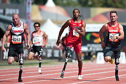 CONNOR Earle, VANCE Shaquille, POPOW Heinrich, CAN, USA, GER, 100m, T42, 2013 IPC Athletics World Championships, Lyon, France