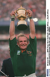 South Africa captain Francois Pienaar lifts the cup