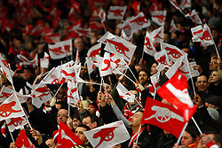 16.02.2011, Emirates Stadium, London, ENG, UEFA CL, FC Arsenal vs FC Barcelona, im Bild Arsenal  fans   in Arsenal vs Barcelona for the UCL  ,Round of last 16, at the Emirates Stadium in London on 16/02/2011, EXPA Pictures © 2011, PhotoCredit: EXPA/ IPS/ Kieran Galvin +++++ ATTENTION - OUT OF ENGLAND/GBR and France/ FRA +++++