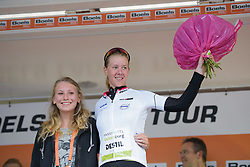 Demi de Jong takes the lead in the youth classification at Boels Rental Ladies Tour Stage 5 a 141.8 km road race from Stamproy to Vaals, Netherlands on September 2, 2017. (Photo by Sean Robinson/Velofocus)