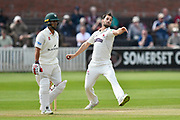 Lewis Gregory of Somerset bowling during the Specsavers County Champ Div 1 match between Somerset County Cricket Club and Worcestershire County Cricket Club at the Cooper Associates County Ground, Taunton, United Kingdom on 22 April 2018. Picture by Graham Hunt.