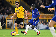 Chelsea Defender Ngolo Kante plays a pass during the Premier League match between Wolverhampton Wanderers and Chelsea at Molineux, Wolverhampton, England on 5 December 2018.