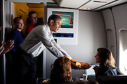 02.MAY.2012. WASHINGTON D.C.<br /> <br /> PRESIDENT BARACK OBAMA CELEBRATES THE BIRTHDAY OF BLOOMBERG WHITE HOUSE CORRESPONDENT JULIANNA GOLDMAN ABOARD AIR FORCE ONE DURING THE FLIGHT FROM RAMSTEIN, GERMANY, TO JOINT BASE ANDREWS, MD., MAY 2, 2012.  <br /> <br /> BYLINE: EDBIMAGEARCHIVE.CO.UK<br /> <br /> *THIS IMAGE IS STRICTLY FOR UK NEWSPAPERS AND MAGAZINES ONLY*<br /> *FOR WORLD WIDE SALES AND WEB USE PLEASE CONTACT EDBIMAGEARCHIVE - 0208 954 5968*