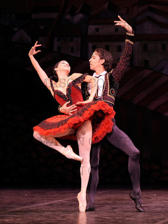 2010 Ballet Nacional de Cuba Magia De La Danza<br /> Sadlers Wells at the London coliseum UK<br /> Don Quixote:<br /> Kitri the beautiful Viengsay Valdes and Basilio the town barber Elier Bourzac