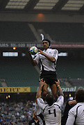Twickenham, England.  NZ's Edwin COCKER, collects the line out ball,  NZ vs SCO, match at the London Sevens Rugby, Twickenham Stadium, (date} [credit Peter Spurrier/ Intersport Images]