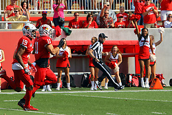 21 October 2017:   Spencer Schnell gets protection all the way to the endzone from Anthony Fowler during the South Dakota Coyotes at Illinois State Redbirds Football game at Hancock Stadium in Normal IL (Photo by Alan Look)