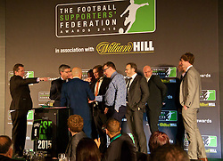 LONDON, ENGLAND - Tuesday, December 8, 2015: The Anfield Wrap's Neil Atkinson and host James Richardson at the Football Supporters' Federation Awards Dinner 2015 at the St. Pancras Renaissance Hotel. (Pic by David Rawcliffe/Propaganda)