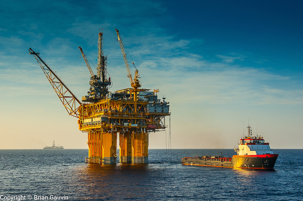 Offshore Supply Vessel (OSV) at an offshore oil rig in the Gulf of Mexico