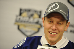 Slater Koekkoek of the Peterborough Petes was a first round pick of the Tampa Bay Lightning  in the 2012 NHL Entry Draft in Pittsburgh, PA on Friday June 22. Photo by Aaron Bell/CHL Images