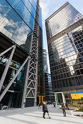 Glass and steen buildings house hundreds of financial businesses in London's Square Mile as European markets follow US and Asian markets lower on Tuesday as investors continued to dump shares. London, February 06 2018.