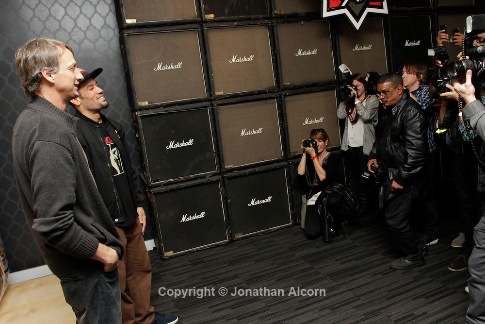 Ben Harper with Tony Hawk at The Grammy Museum in in Los Angeles, California, U.S. December 7, 2012 ©Jonathan Alcorn/JTA