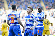 Reading players celebrate after Reading midfielder Hal Robson-Kanu makes it 1-1 during the Sky Bet Championship match between Reading and Fulham at the Madejski Stadium, Reading, England on 5 March 2016. Photo by Adam Rivers.