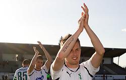 Stefan Smiljanic of Olimpija and Erik Salkic of Olimpija  celebrate after the football match between NK Triglav Gorenjska and NK Olimpija in 27th Round of Slovenian 1st League PrvaLiga, on April 10, 2011 in Sports park Kranj, Slovenia. (Photo By Vid Ponikvar / Sportida.com)