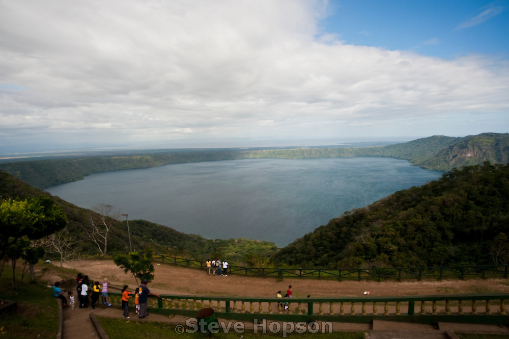 The Apoyo lagoon in Catarina Nicaragua, January 21, 2012. Catarina is an artists' village situaed on the Apoyo lagoon. Visible beyond Apoyo lagoon are the city of Grenada and the Cocibolca Lake (aka Lake Nicaragua)>