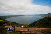 The Apoyo lagoon in Catarina Nicaragua, January 21, 2012. Catarina is an artists' village situaed on the Apoyo lagoon. Visible beyond Apoyo lagoon are the city of Grenada and the Cocibolca Lake (aka Lake Nicaragua)>