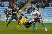 Coventry City Goalkeeper Reice Charles-Cook makes a save during the Sky Bet League 1 match between Coventry City and Bury at the Ricoh Arena, Coventry, England on 13 February 2016. Photo by Dennis Goodwin.