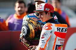 November 17, 2019, Cheste, VALENCIA, SPAIN: Marc Marquez, rider of Repsol Honda Team from Spain, attends during the World Champion photo during the Valencia Grand Prix of MotoGP World Championship celebrated at Circuit Ricardo Tormo on November 16, 2019, in Cheste, Spain. (Credit Image: © AFP7 via ZUMA Wire)