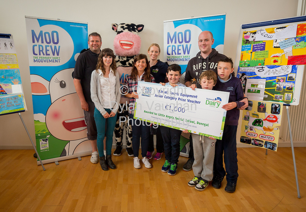 Repro Free no charge for Repro<br /> <br /> 15-6-16<br /> <br /> DERVAL O&rsquo;ROURKE CELEBRATES WITH WINNING MOO CREW SCHOOLS FROM DONEGAL &amp; LONGFORD<br />  <br /> Derval O&rsquo;Rourke, the well-known sprint hurdler who is a World Indoor Champion, multiple European medallist and three time Olympian, was in Dublin today (15th June, 2016) to celebrate with the top winning primary school children in the National Dairy Council&rsquo;s Moo Crew &ndash; Primary Dairy Moovement.<br /> Moo Crew is a fun and interactive way for children to learn about the benefits of a healthy, balanced diet and the importance of exercise &ndash; to &lsquo;get moo-ving&rsquo;.  It is supported by the NDC in light of research that showed 37% of girls and 28% of boys aged from 5 &ndash; 12 years in Ireland had inadequate calcium intakes in their diet.<br />  <br /> The top classes in the Junior Category and Senior Category of the NDC&rsquo;s national competition each won a sports equipment pack worth &euro;1,000 for their school and the day out in Airfield Farm in Dublin, with Olympic star Derval O&rsquo;Rourke.  The overall national winners of Moo Crew for 2016 are:<br /> &middot;         National Winners, Junior Category - Junior Class, Little Angels Special School, Letterkenny, Co. Donegal (Junior class Teacher Mr. Daire Diver)<br /> &middot;         National Winners, Senior Category - 4th &amp; 5th Class, Sacred Heart Primary School, Granard, Co Longford (Teachers Ms. Carmel Shaughnessy and Ms. Grace McGauran)<br /> <br /> Milly, the Moo Crew Mascot cow, joined in the action packed day which included milking cows, farmyard experiences and butter making; as well as activities such as bug hunting and woodland walks.  Further details and information about county winners at www.ndc.ie.<br />  <br /> Pictured at Airfield Farm were National Winners, Junior Category - Junior Class, Little Angels Special School, Letterkenny, Co. Donegal from left Liam O'Donnell Special Needs Assistant; Caro