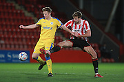 Tom Shaw and Harry Pell during the Vanarama National League match between Cheltenham Town and Chester City at Whaddon Road, Cheltenham, England on 5 December 2015. Photo by Antony Thompson.