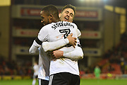 Fulham FC defender Ryan Sessegnon (3) celebrates scoring his second goal with Fulham FC forward Rui Fonte (9)  to go 3-1 during the EFL Sky Bet Championship match between Barnsley and Fulham at Oakwell, Barnsley, England on 27 January 2018. Photo by Ian Lyall.