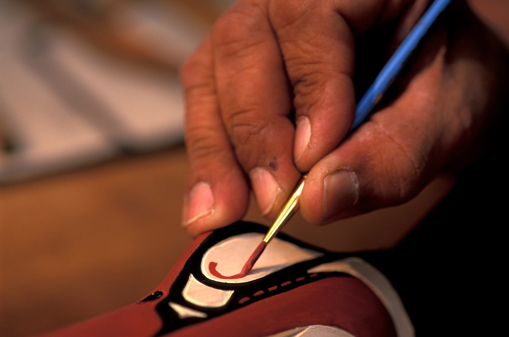 Tlingit Artist Wayne Carlick's Hand, .at Capilano Suspension Bridge,.Vancouver,.British Columbia, Canada