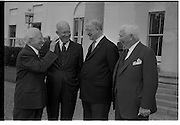 22/08/1962<br /> 08/22/1962<br /> 22 August, 1962<br /> Col S. Brennan, Eamon de Valera, Dwight D. Eisenhower at Aras an Uachtarain