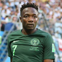 June 26, 2018 - St. Petersburg, Russia - June 26, 2018, Russia, St. Petersburg, FIFA World Cup 2018, First round, Group D, Third round. Football match of Nigeria - Argentina at the stadium of St. Petersburg. Player of the national team Ahmed Musa. (Credit Image: © Russian Look via ZUMA Wire)