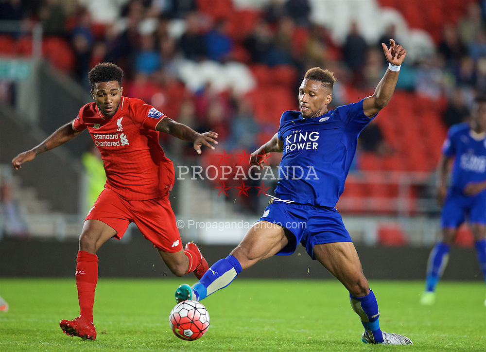 ST HELENS, ENGLAND - Monday, September 28, 2015: Liverpool's Jerome Sinclair in action against Leicester City's Alie Sesay during the Under 21 FA Premier League match at Langtree Park. (Pic by David Rawcliffe/Propaganda)