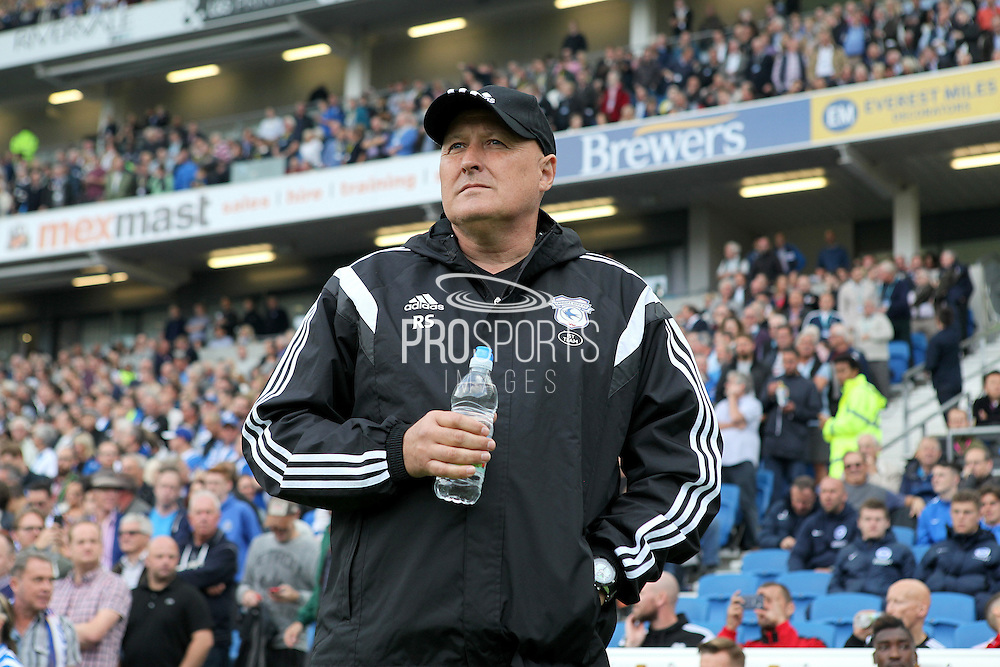 Cardiff City first team manager Russell Slade watches from the  touchline during the Sky Bet Championship match between Brighton and Hove Albion and Cardiff City at the American Express Community Stadium, Brighton and Hove, England on 3 October 2015. Photo by Bennett Dean.