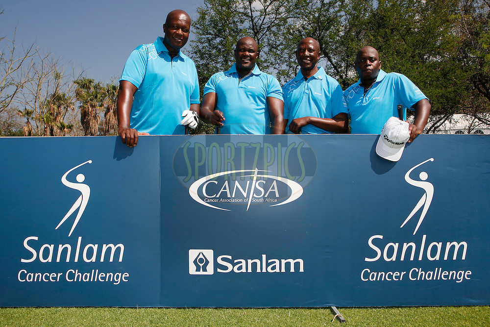 Sello Moloko, Sindile Kama, Tiisetso Tsukudu and Sabelo Nyembe during round one of the Sanlam Cancer Challenge Delegates competition 2012 held at The Gary Player Golf and Country Club at Sun City on the 22nd October 2012...Photo by Mark Wessels/SPORTZPICS