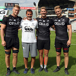 DURBAN, SOUTH AFRICA - APRIL 13: Jean-Luc du Preez  with Robert du Preez (Head Coach) of the Cell C Sharks -Robert du Preez - and Daniel Du Preez of the Cell C Sharks during the Cell C Sharks captains run at Jonnsons Kings Park on April 13, 2017 in Durban, South Africa. (Photo by Steve Haag)