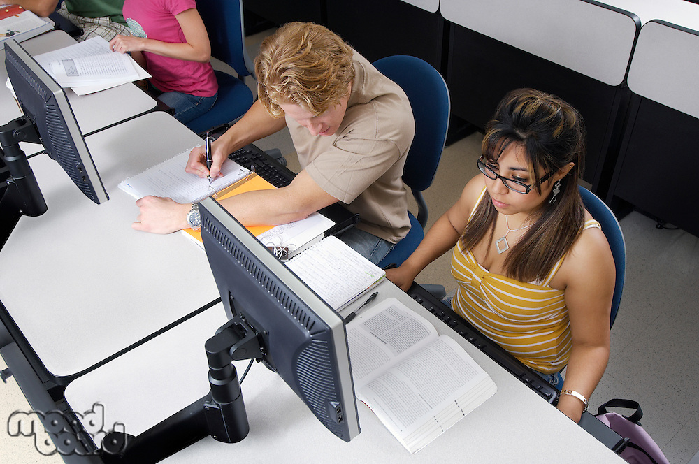 Students working in computer classroom
