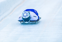 17.01.2020, Olympia Eiskanal, Innsbruck, AUT, BMW IBSF Weltcup Bob und Skeleton, Igls, Skeleton, Herren, 1. Lauf, im Bild Jared Firestone (ISR) // Jared Firestone of Israel in action during his 1st run of men's Skeleton competition of BMW IBSF World Cup at the Olympia Eiskanal in Innsbruck, Austria on 2020/01/17. EXPA Pictures © 2020, PhotoCredit: EXPA/ Stefan Adelsberger