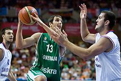 Domen Lorbek (13) of Slovenia during the EuroBasket 2009 Semi-final match between Slovenia and Serbia, on September 19, 2009, in Arena Spodek, Katowice, Poland.  (Photo by Vid Ponikvar / Sportida)